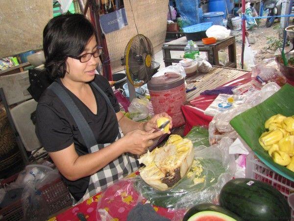 тайский джекфрут чистка джекфрута