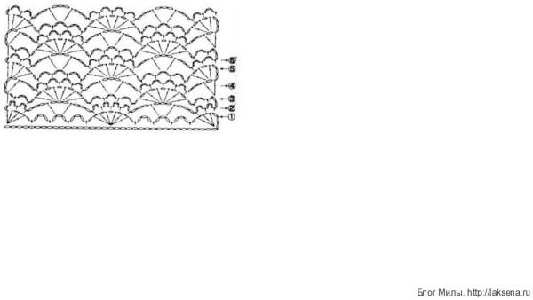 Голубой топик крючком на девочку веерочками схема низа схема узор веера