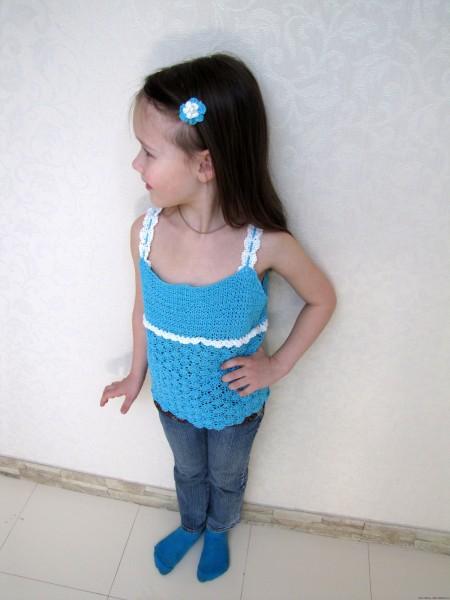 Голубой топик крючком на девочку веерочками (крючок) описание схемы