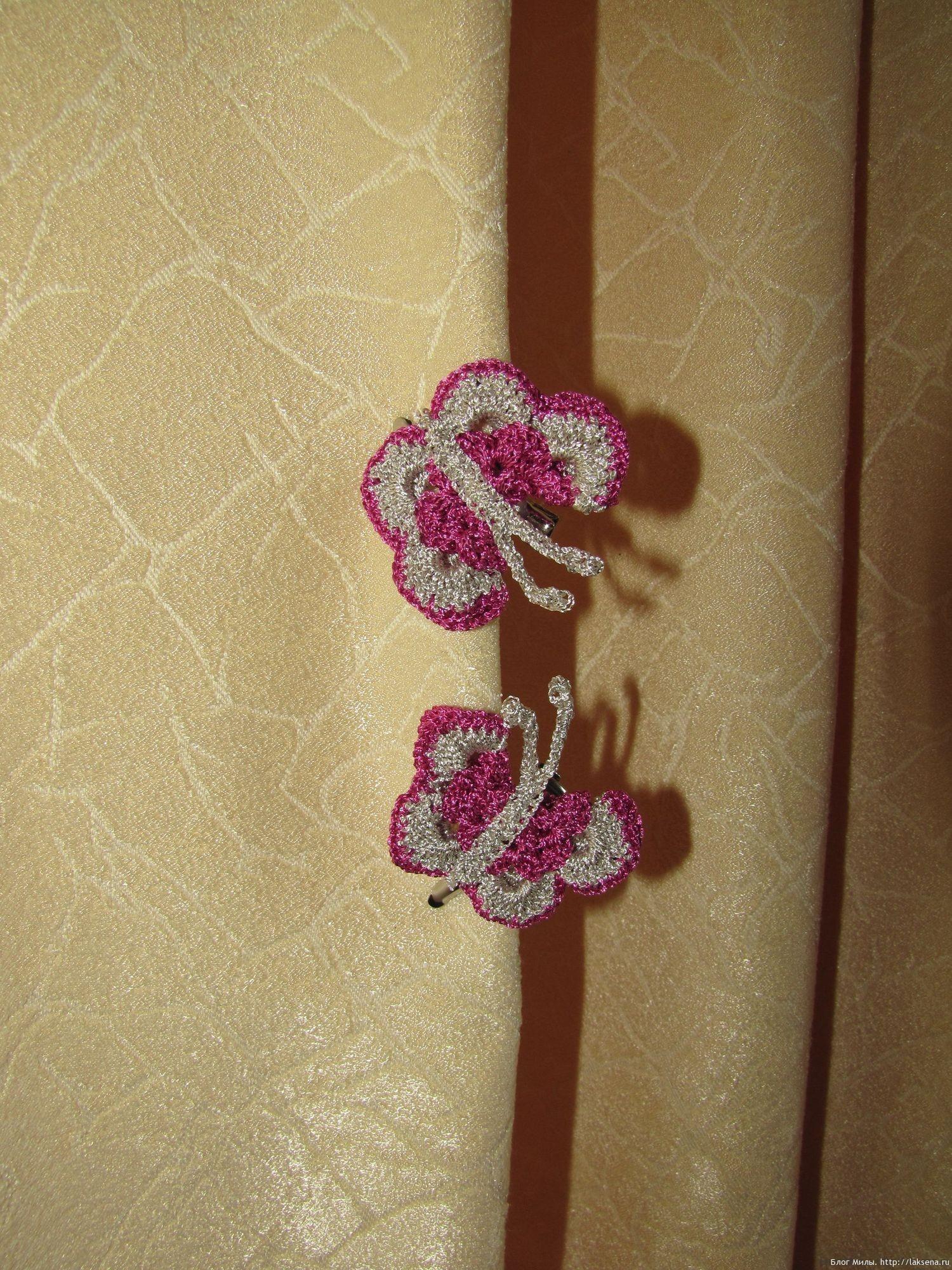Вязаная заколка с бабочкой (крючок) — Блог Милы