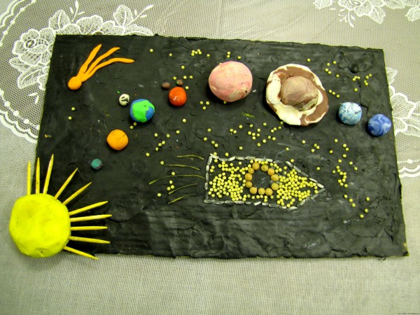 Поделка к дню космонавтики из пластилина из круп Планеты солнечной системы
