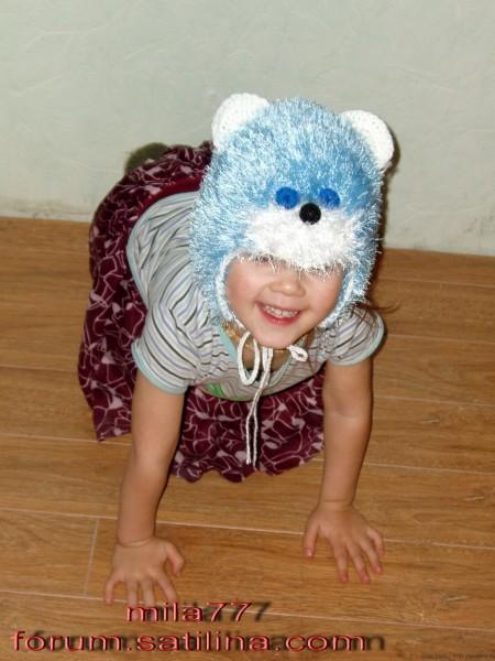 вязаная шапочка-зверушка кот крючком
