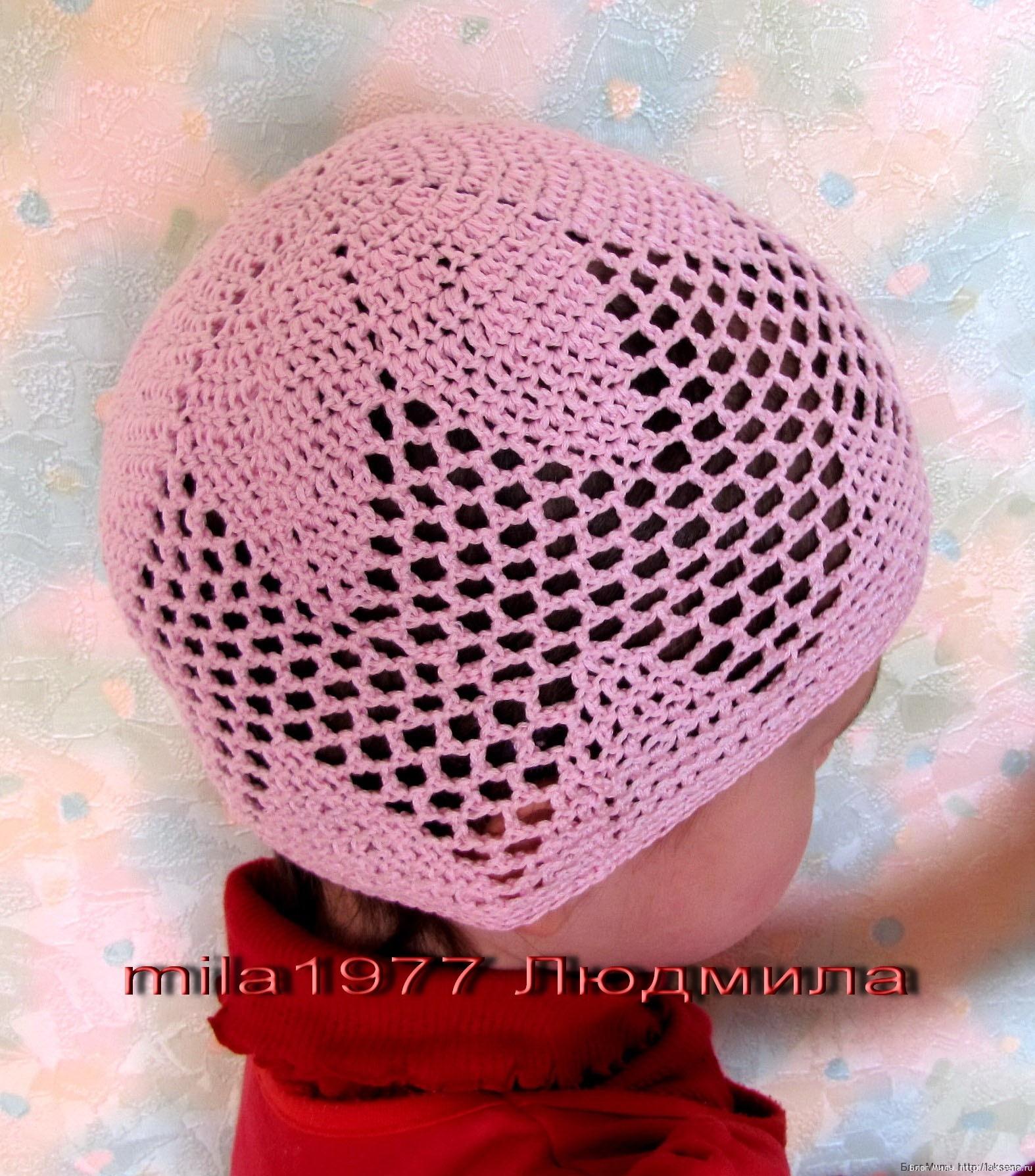 Летняя шапочка для девлчки крючком