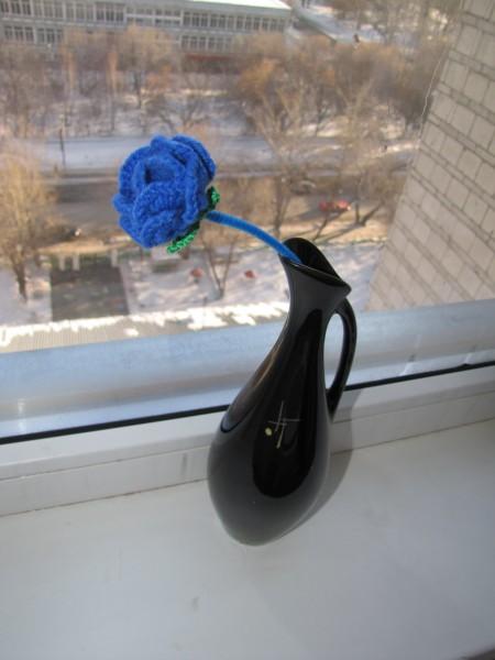 Роза вязаная цветок вязаный крючком акриловая пряжа свойства