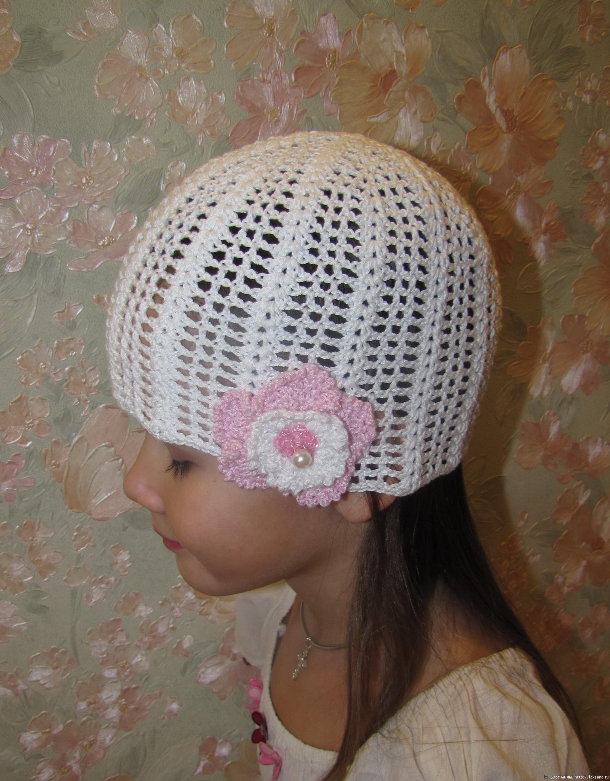 вязание ажурных летних шапочек