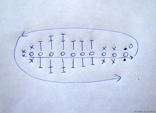 листик крючком схема