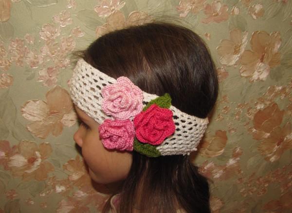 ажурная повязка на голову крючком букет роз