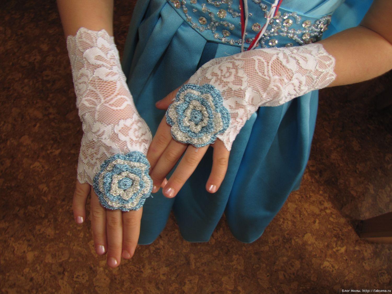 кружевные перчатки без пальцев с вязаным цветком блог милы