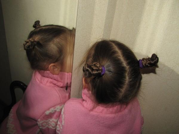 две косички рожки из кос