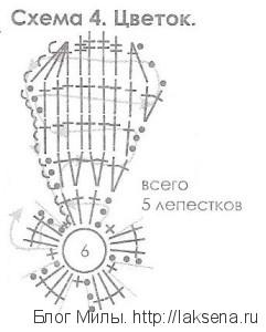 цветок вязаный схема