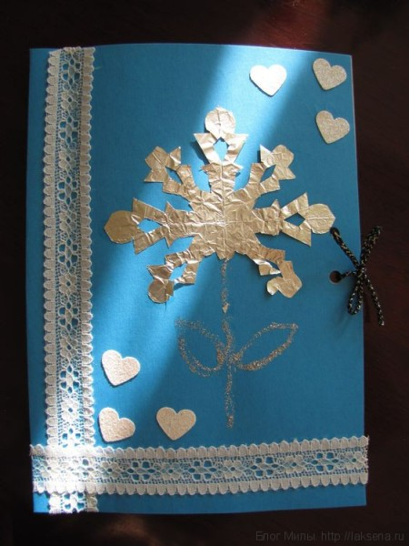 Зимняя открытка на день рождения бабушке своими руками