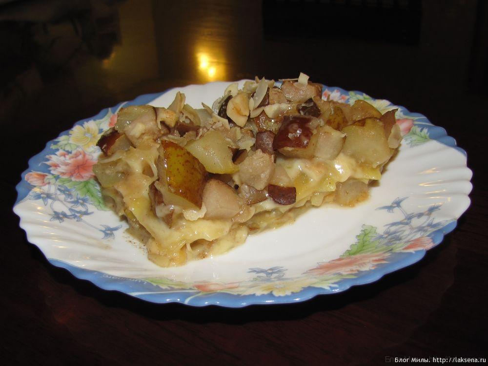 десертная лазанья с грушами необычная лазанья