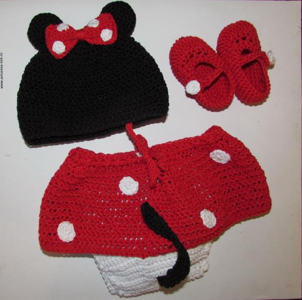 костюм минни маус крючком для новорожденной
