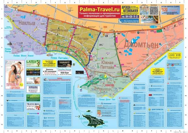 тук туки в Паттайе карта тук туков в паттайе карта маршрутов тук туков  паттайя