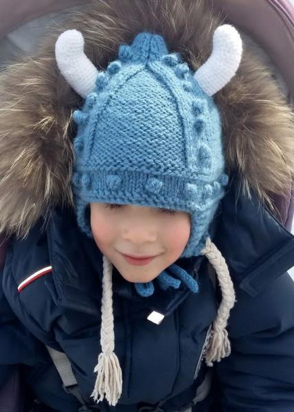 Шапка викинга спицами для мальчика