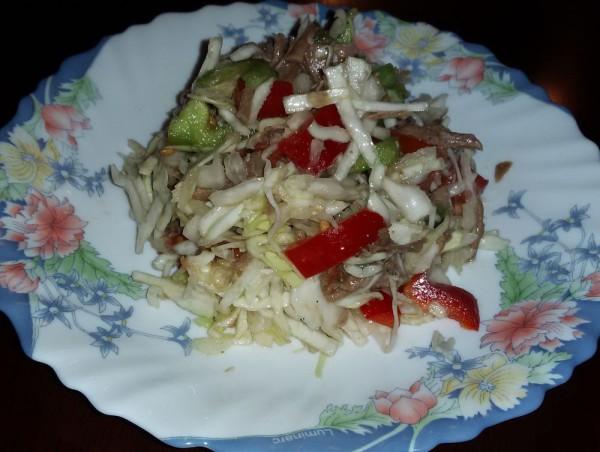 Салат из говядины с капустой