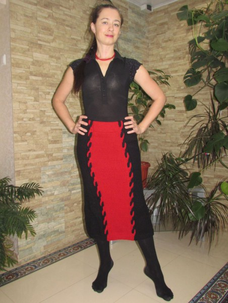Вязаная юбка с косами по мотивам Диор