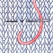 вышивка поверх вязаного полотна шов петля