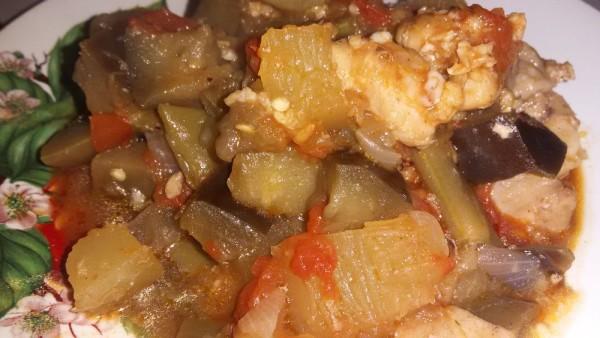 Полезное и вкусное рагу с тыквой баклажанами помидорами фасолью курицей