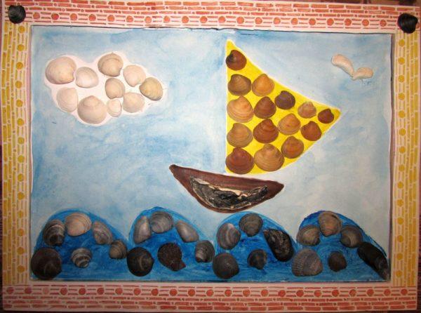 Картина из ракушек - поделка для детского сада