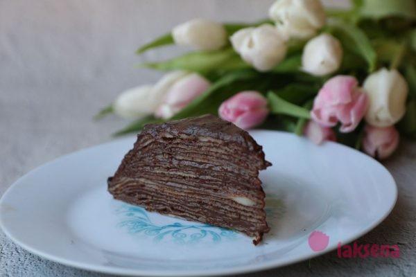 Блинный торт с заварным шоколадным кремом
