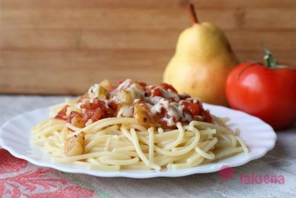 Паста с грушей и помидорами спагетти с грушами в томатном соусе