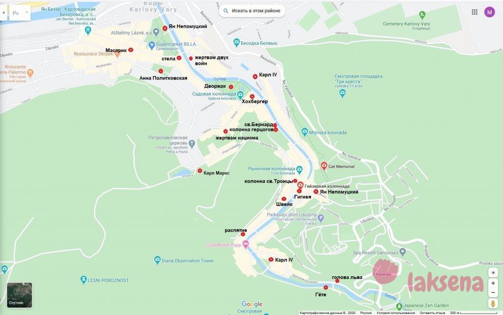 карта памятники в Карловых Варах